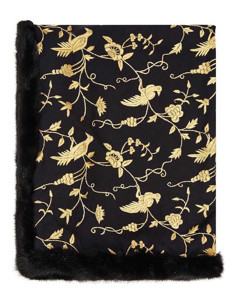 Verheyen London Embroidered Indian Love Mogul Shawl & Mink Fur - Brand New  In New Condition For Sale In London, GB
