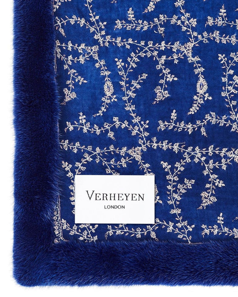 Verheyen London Embroidered Sapphire Blue Shawl & Blue Mink Fur - Brand New  Verheyen London's shawl is spun from the finest embroidered woven cashmere mix blend from Kashmir and finished with the most exquisite dyed mink. Its warmth envelopes you