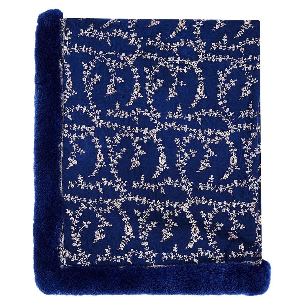 Verheyen London Embroidered Sapphire Blue Shawl & Blue Mink Fur