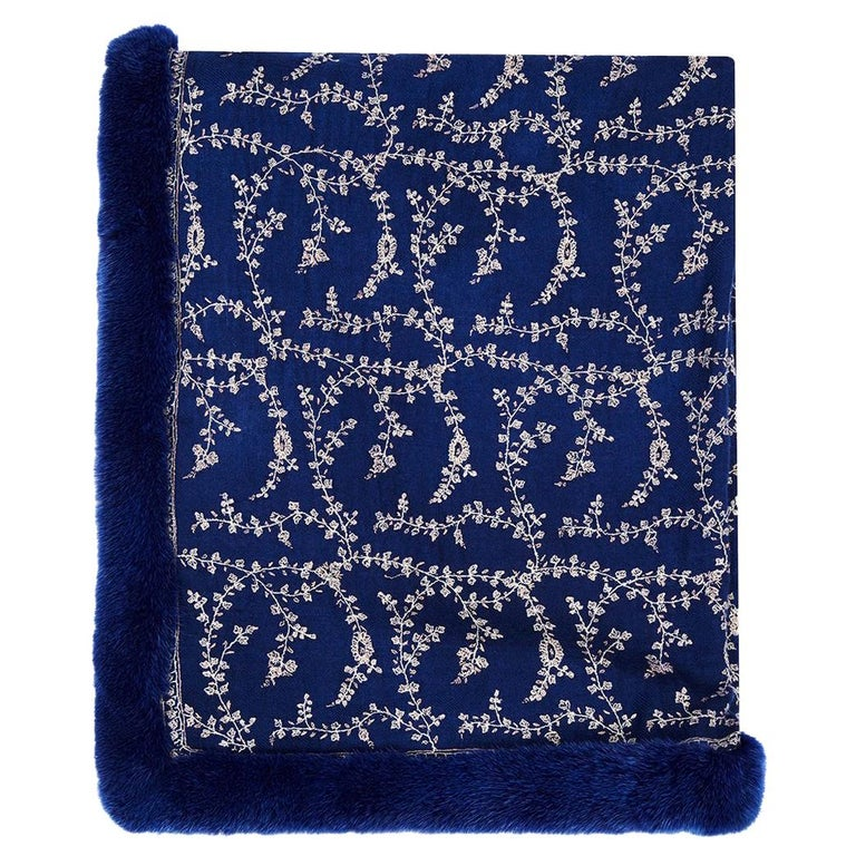 Verheyen London Embroidered Sapphire Blue Shawl & Blue Mink Fur - Brand New For Sale