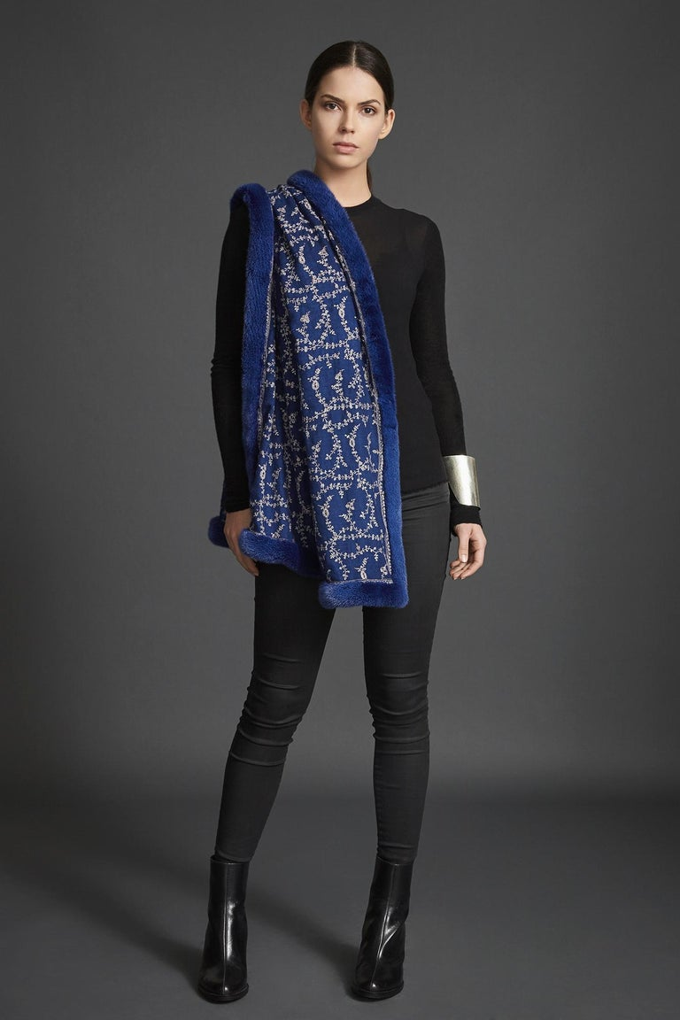 Verheyen London Embroidered Sapphire Blue Shawl & Blue Mink Fur -Valentines gift In New Condition For Sale In London, GB