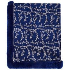 Verheyen London Embroidered Sapphire Blue Shawl & Blue Mink Fur -Valentines gift