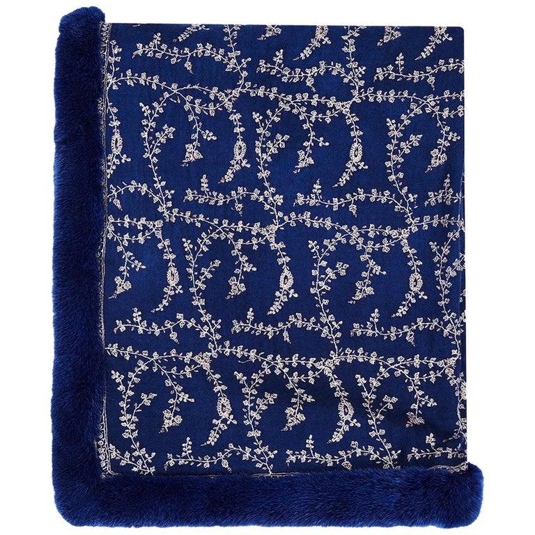 Verheyen London Embroidered Sapphire Blue Shawl & Blue Mink Fur -Valentines gift For Sale