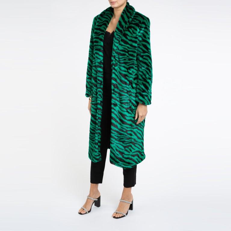 Verheyen London Esmeralda Faux Fur Coat in Emerald Green Zebra Print size uk 10 For Sale 1