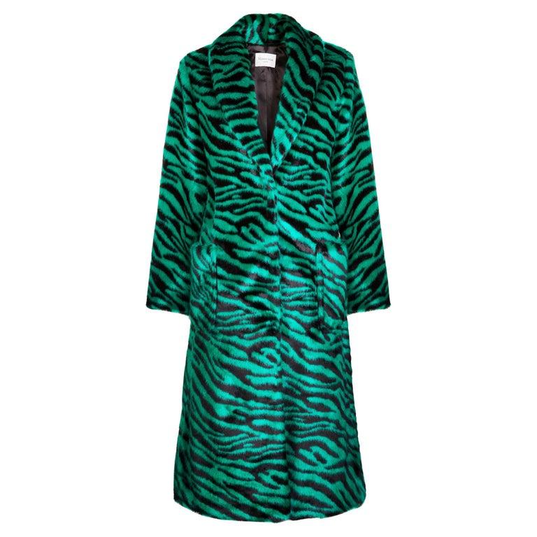 Verheyen London Esmeralda Faux Fur Coat in Emerald Green Zebra Print size uk 10 For Sale