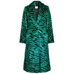Verheyen London Esmeralda Faux Fur Coat in Emerald Green Zebra Print size uk 8
