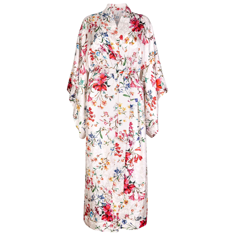 Verheyen London Flower Kimono dress in Italian Silk Satin Size small