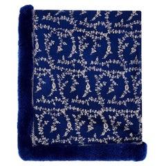 Verheyen London Hand Embroidered Sapphire Blue Shawl & Blue Mink Fur