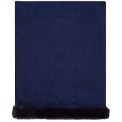 Verheyen London Handwoven Cashmere Shawl in Navy with Mink Trim
