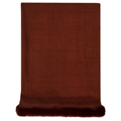 Verheyen London Handwoven Mink Fur Trimmed Cashmere Scarf in Brown - Brand New
