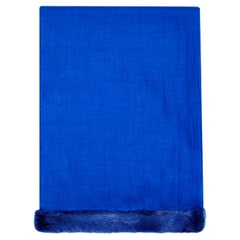 Verheyen London Handwoven Mink Fur Trimmed Cashmere Shawl in Blue - Brand New
