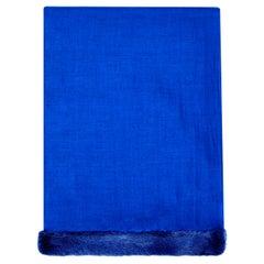 Verheyen London Handwoven Mink Fur Trimmed Cashmere Shawl in Blue