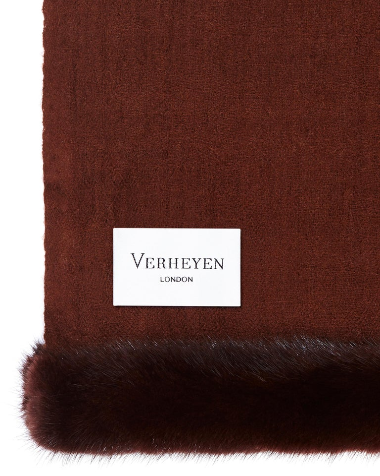 Women's or Men's Verheyen London Handwoven Mink Fur Trimmed Cashmere Shawl in Chocolate Brown   For Sale
