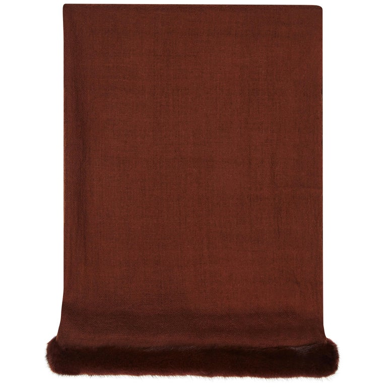 Verheyen London Handwoven Mink Fur Trimmed Cashmere Shawl in Chocolate Brown   For Sale