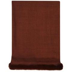 Verheyen London Handwoven Mink Fur Trimmed Cashmere Shawl in Chocolate Brown