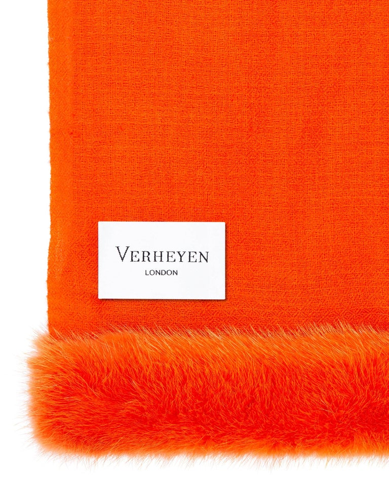 Verheyen London Handwoven Mink Fur Trimmed Orange Cashmere Shawl - Brand New  (RRP Price)   Verheyen London's shawl is spun from the finest lightweight handwoven cashmere from Kashmir and finished with the most exquisite dyed mink. Its warmth
