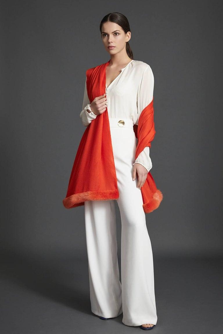 Red Verheyen London Handwoven Mink Fur Trimmed Orange Cashmere Shawl - Brand New