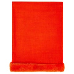 Verheyen London Handwoven Mink Fur Trimmed Orange Cashmere Shawl - Brand New