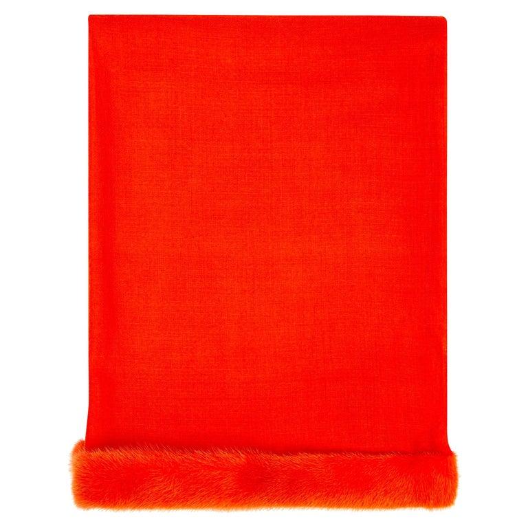 Verheyen London Handwoven Mink Fur Trimmed Orange Cashmere Shawl - Brand New