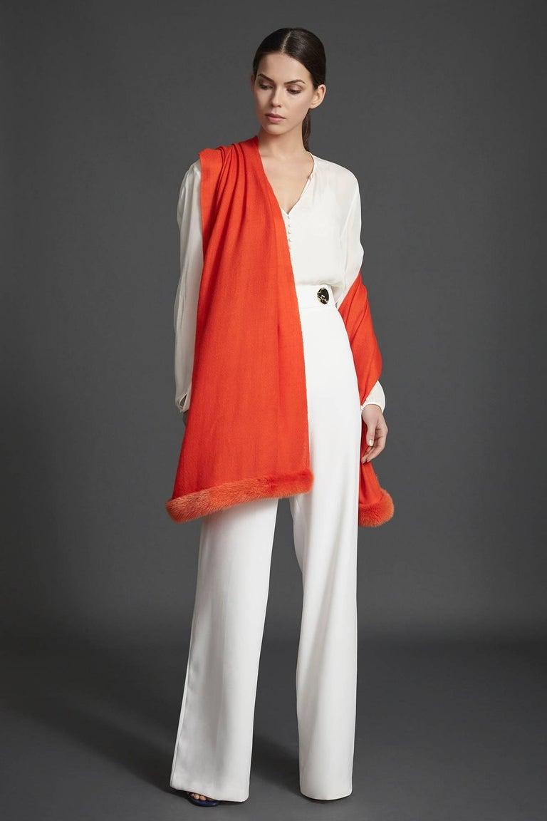 Verheyen London Handwoven Mink Fur Trimmed Orange Cashmere Shawl  In New Condition For Sale In London, GB