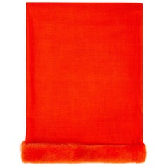 Verheyen London Handwoven Mink Fur Trimmed Orange Cashmere Shawl