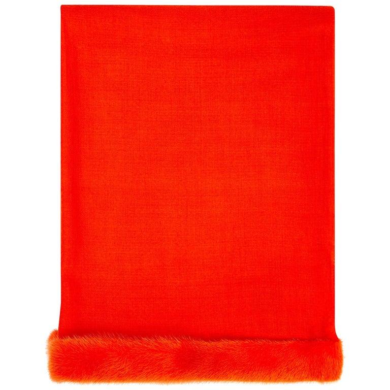 Verheyen London Handwoven Mink Fur Trimmed Orange Cashmere Shawl  For Sale
