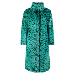 Verheyen London High Collar Green Leopard Print Coat Goat Hair Fur Size uk 10