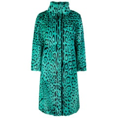 Verheyen London High Collar Green Leopard Print Coat Goat Hair Fur Size uk 12