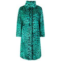 Verheyen London High Collar Green Leopard Print Coat Goat Hair Fur Size uk 12