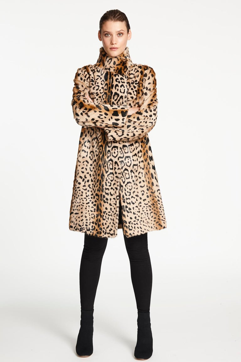 Verheyen London High Collar Leopard Print Coat Natural Goat Hair Fur Size uk 10 In New Condition For Sale In London, GB