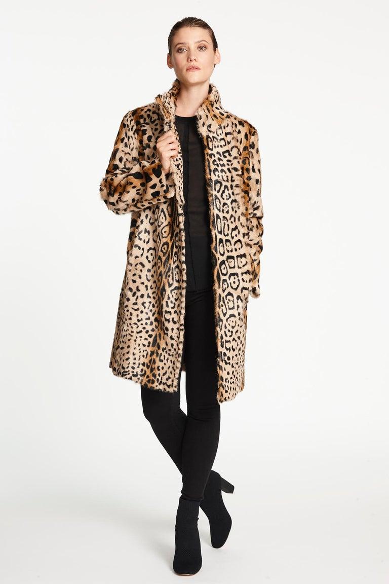 Verheyen London High Collar Leopard Print Coat Natural Goat Hair Fur Size uk 10 For Sale 3