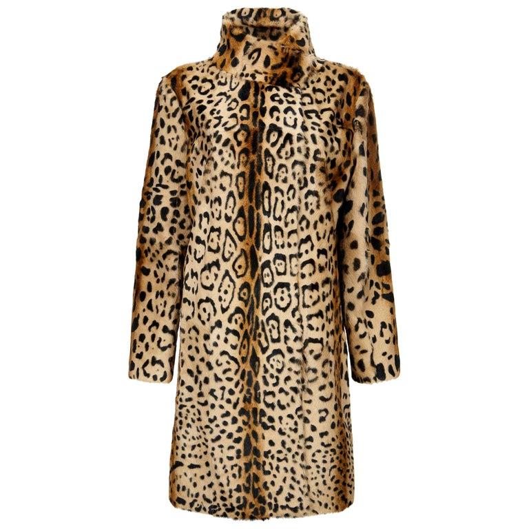 Verheyen London High Collar Leopard Print Coat Natural Goat Hair Fur Size uk 10 For Sale