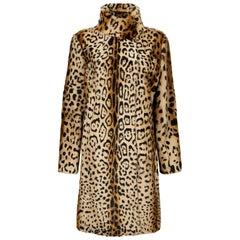 Verheyen London High Collar Leopard Print Coat Natural Goat Hair Fur Size uk 10