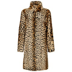 Verheyen London High Collar Leopard Print Coat Natural Goat Hair Fur Size uk 10