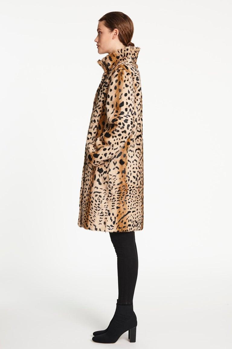 Verheyen London High Collar Leopard Print Coat Natural Goat Hair Fur Size uk 14 For Sale 3