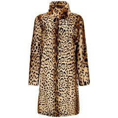 Verheyen London High Collar Leopard Print Coat Natural Goat Hair Fur Size uk 12