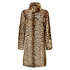 Verheyen London High Collar Leopard Print Coat Natural Goat Hair Fur Size uk 14