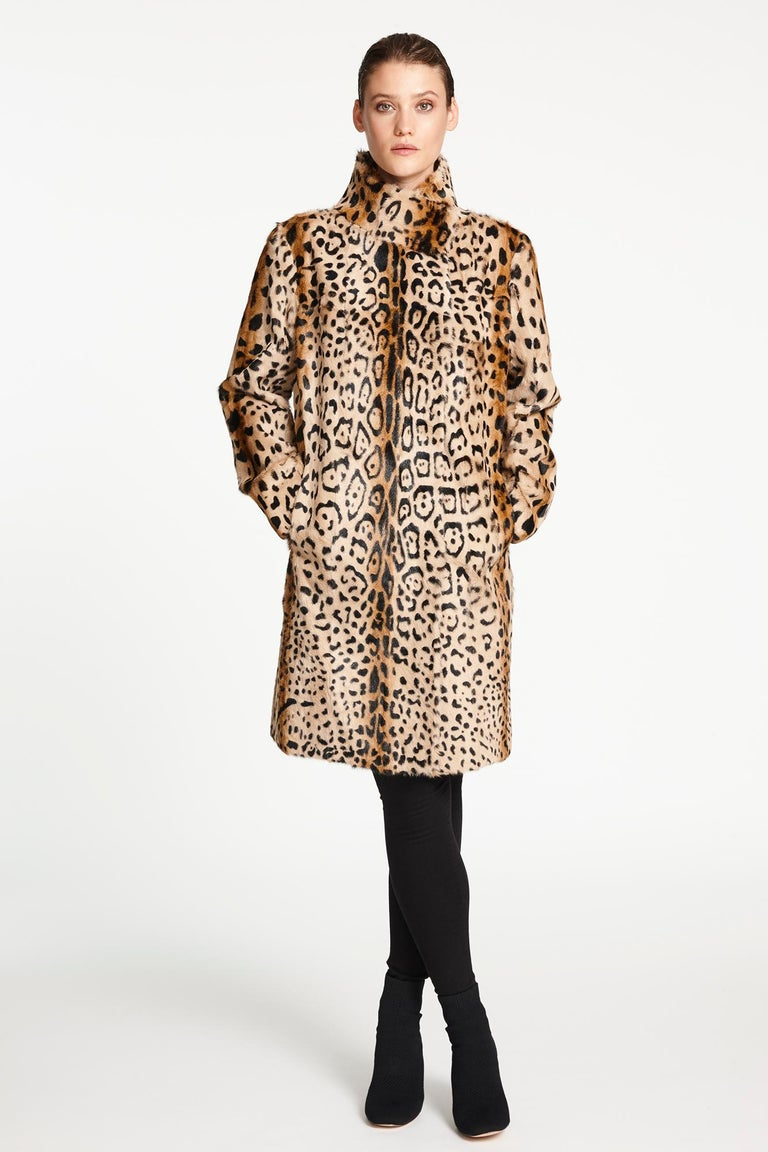 Verheyen London High Collar Leopard Print Coat Natural Goat Hair Fur Size uk 14 In New Condition For Sale In London, GB