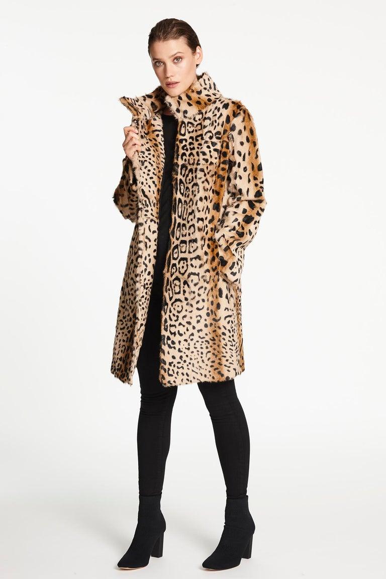 Women's Verheyen London High Collar Leopard Print Coat Natural Goat Hair Fur Size uk 14 For Sale