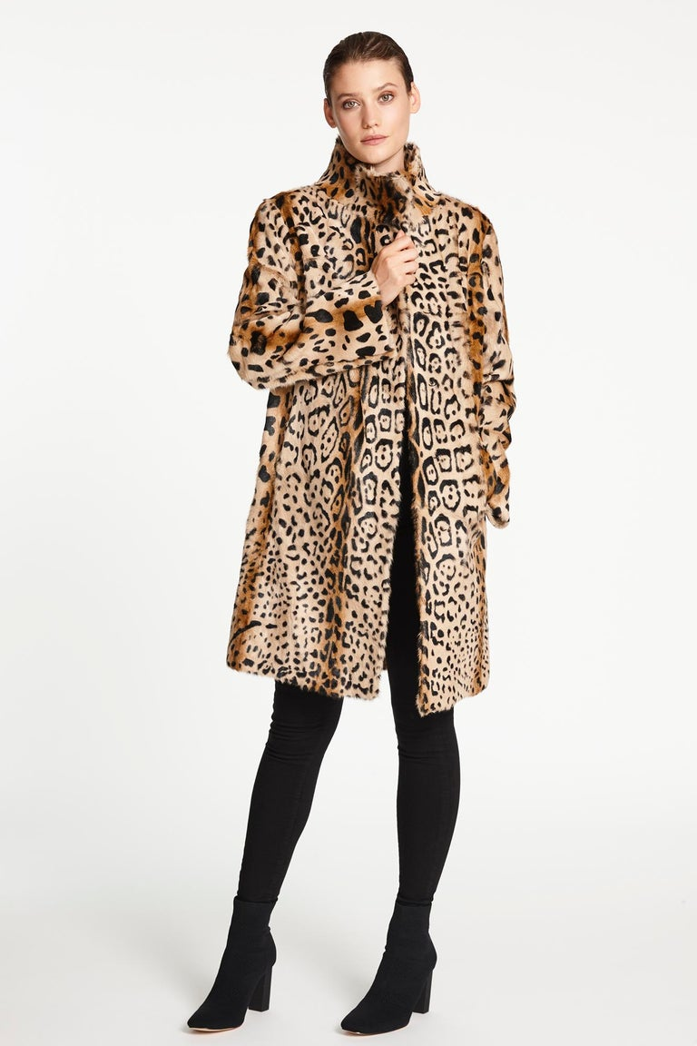 Verheyen London High Collar Leopard Print Coat Natural Goat Hair Fur Size uk 14 For Sale 2