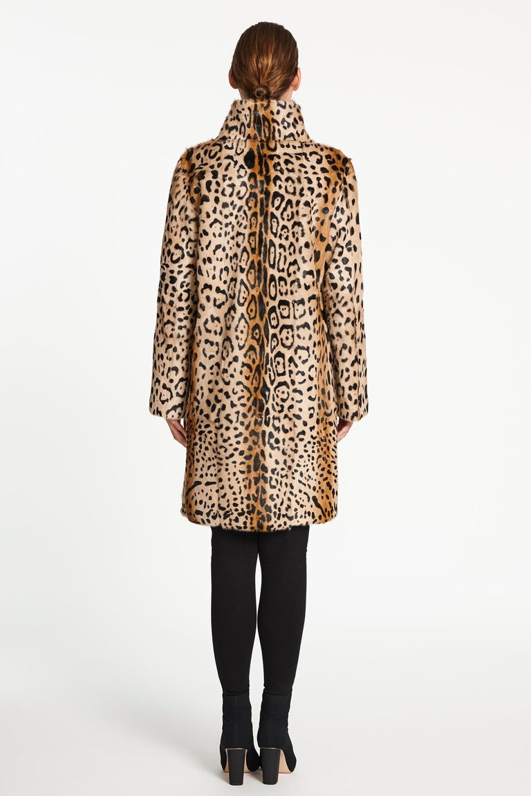 Verheyen London High Collar Leopard Print Coat Natural Goat Hair Fur Size uk 14 For Sale 5