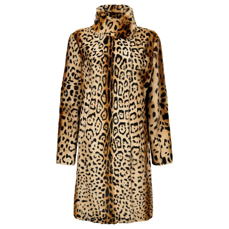 Verheyen London High Collar Leopard Print Coat Natural Goat Hair Fur Size uk 14 For Sale