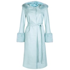 Verheyen London Hooded Leather Coat in Blue Aquamarine & Faux Fur - Size uk 14