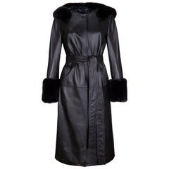 Verheyen London Hooded Leather Trench Coat in Black with Faux Fur