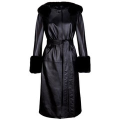 Verheyen London Hooded Leather Trench Coat in Black with Faux Fur - Size uk 10