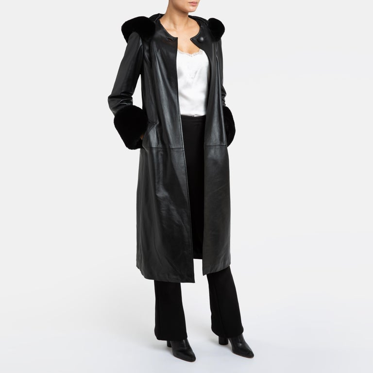 Verheyen London Hooded Leather Trench Coat in Black with Faux Fur - Size uk 12  For Sale 6