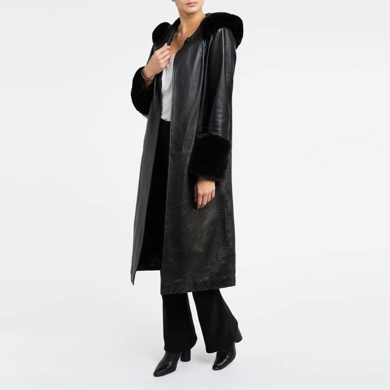 Verheyen London Hooded Leather Trench Coat in Black with Faux Fur - Size uk 12  For Sale 7
