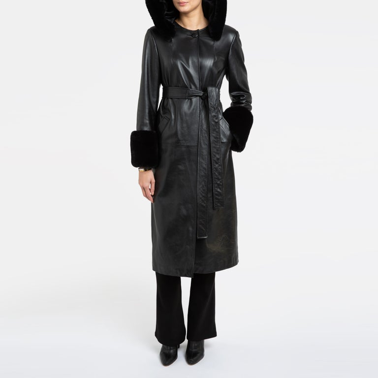 Verheyen London Hooded Leather Trench Coat in Black with Faux Fur - Size uk 12  For Sale 8