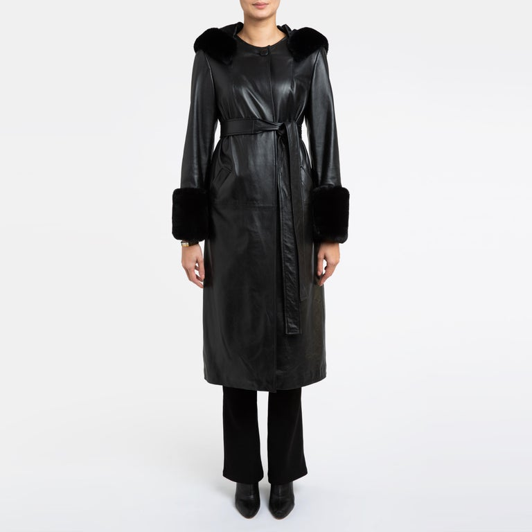 Verheyen London Hooded Leather Trench Coat in Black with Faux Fur - Size uk 12  Handmade in London, made with 100% Italian Lambs Leather and the highest quality of faux fur to match, this luxury item is an investment piece to wear for a lifetime.