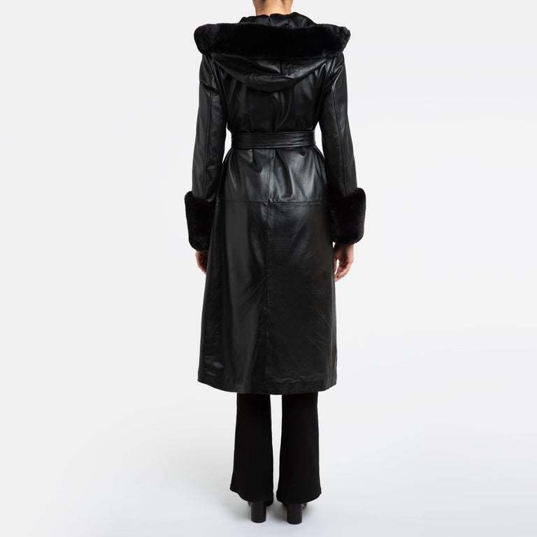 Verheyen London Hooded Leather Trench Coat in Black with Faux Fur - Size uk 12  In New Condition For Sale In London, GB